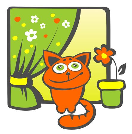 window curtains: Cartoon happy cat sits on a windowsill.