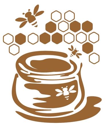 pot miel: Banque stylis� avec du miel et des abeilles isol� sur un fond blanc.