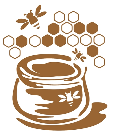 Stylized bank with honey and bees isolated on a white background. Vector