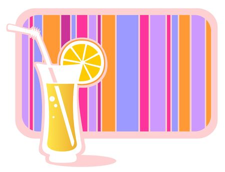 Stylized glass of lemonade with striped frame isolated on a white background. Vector