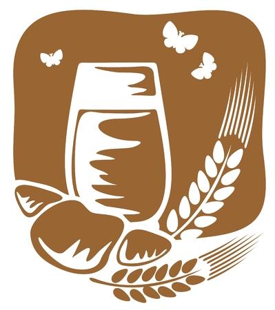 produits c�r�aliers: Un verre de lait et un croissant sur un fond de bronze. Illustration
