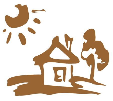 Cartoon rural house and sun on a white background. Vector