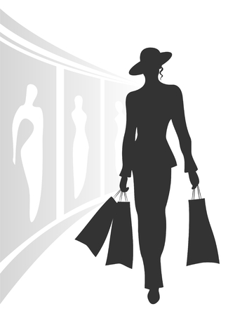 boutiques: Black silhouette of the woman going from shop with packages in hands. Illustration