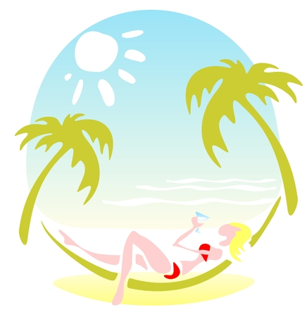 beach illustration: Pretty girl laying in a hammock on a sky background with sun. Illustration