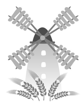 wheaten: Cartoon retro windmill isolated on a white background. Illustration