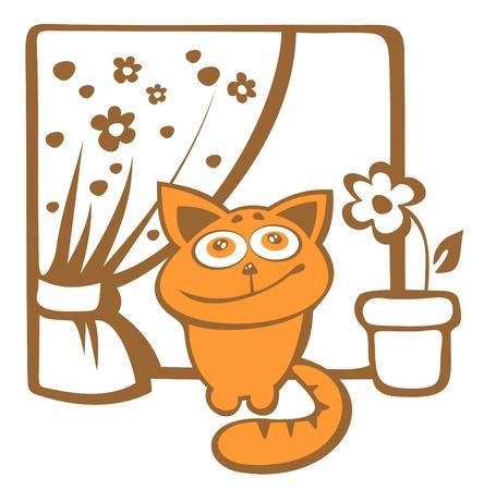 windowsill: Cartoon happy cat sits on a windowsill.