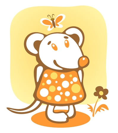 stylization: Cheerful mousy and flower on a yellow background.