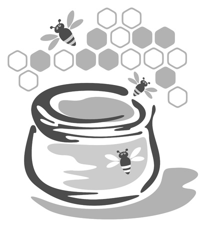 Stylized pot with honey and bees isolated on a white background. Vector