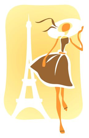 The stylized romantic girl in a hat on a background of Tour dEiffel.