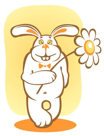Happy rabbit and chamomile on a yellow background.