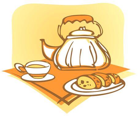 fruitcake: The stylized teapot, cup and fruitcake on a orange napkin. Illustration