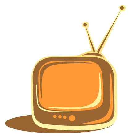 Cartoon vintage TV isolated on a white background. Vector