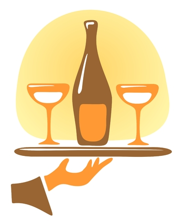 stylization: Bottle of a champagne and glasses on a tray. Illustration