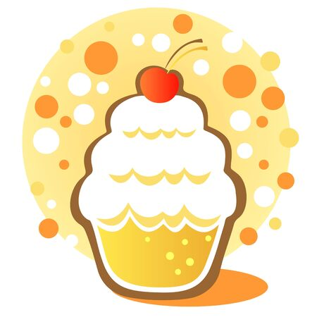 Cartoon cupcake with cherry on a white background. Illustration