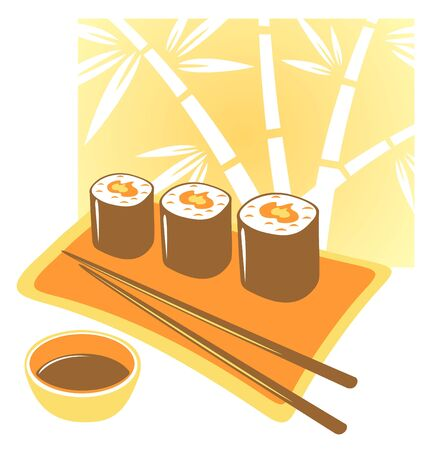 Plate from a Japanese rolls, chopsticks and soya  sauce on a yellow background. Illustration