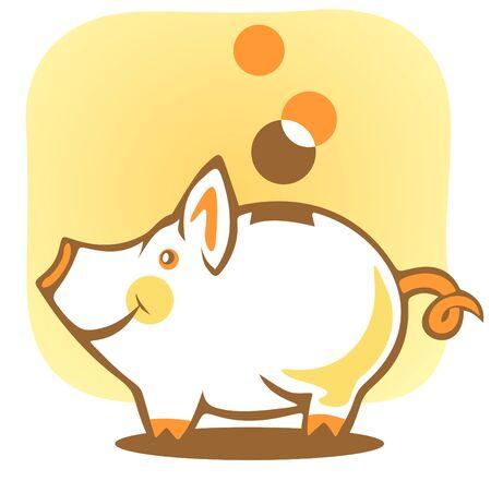 cerdo caricatura: Estilizada hucha y monedas en un fondo amarillo.