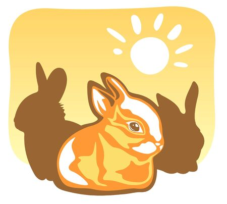 Ornate rabbit and sun on a yellow background. Stock Vector - 3220240