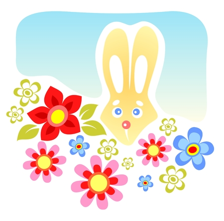 Cartoon rabbit with flowers on a blue background. Vector