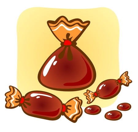 crt: Red ornate sweet candies on a yellow background. Illustration