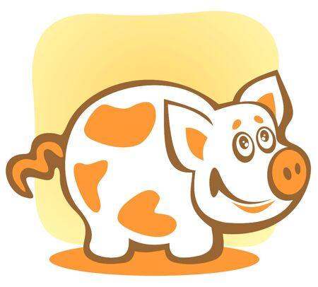 stylization: Cartoon happy piggy isolated on a yellow background. Illustration