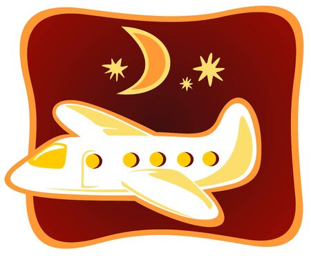 Funny cartoon plane flying in the night sky. Vector