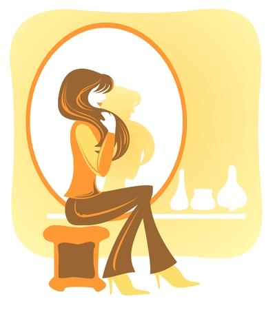 かなり長い髪の少女は、ミラーの近くに座っています。 写真素材 - 3237125