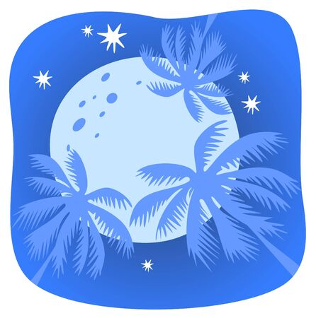 three palm trees: Three palm trees and moon on a night sky background.