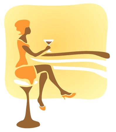 Stylized woman sitting at a bar rack and drinks a cocktail. Illustration