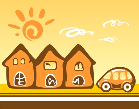 Three cartoon houses and the car on a yellow background. Vector