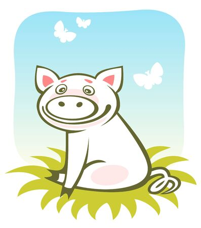 Cartoon happy piggy and butterflies on a blue sky background. Vector