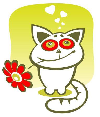 happy cat: Stilisierte Katze gl�cklich mit Blume auf gr�nem Hintergrund. Valentines Abbildung. Illustration