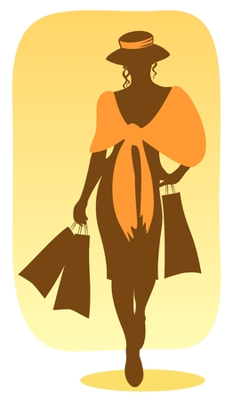 Brown silhouette of the woman  with packages in hands. Vector