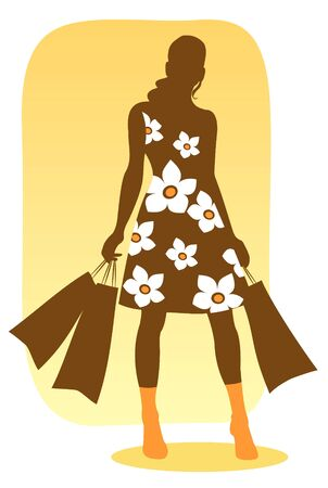 Brown silhouette of the woman  with packages in hands. Illustration
