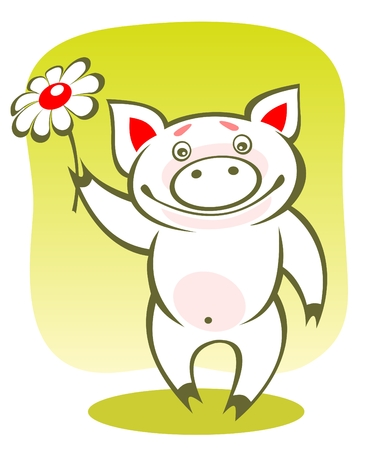 Cartoon happy piggy with flower on a green background. Vector