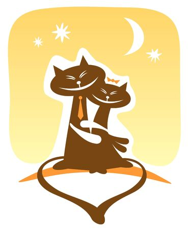 Two enamored happy cats on a yellow background. Valentines illustration. Vector