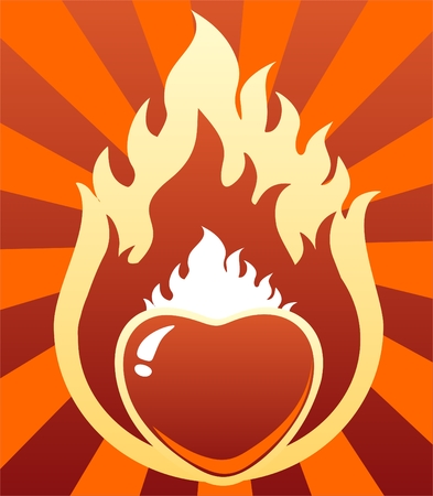 red love heart with flames: Cartoon ardiente coraz�n rojo sobre un fondo rayado. Valentine's ilustraci�n.