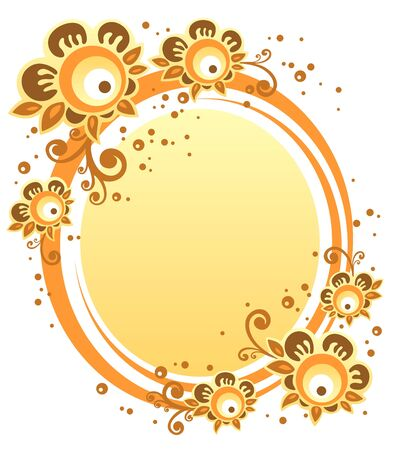 gold picture frame: Cartoon  flowers with yellow frame on a white background.