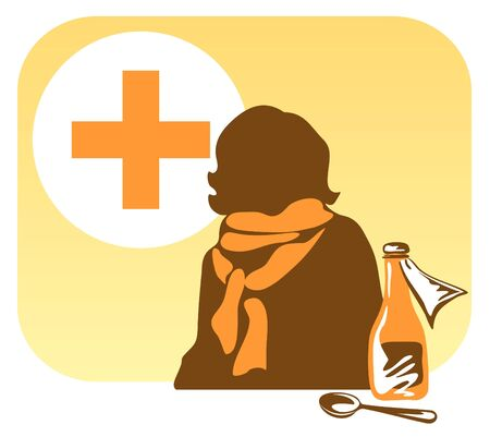 mixture: Stylized person in a scarf with mixture and the spoon on a yellow background Illustration