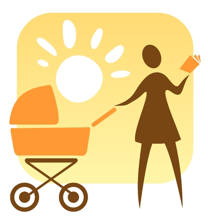 stylization: Symbol of motherhood. Stylized woman with   carriage on a solar  background.