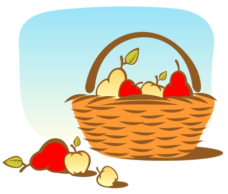 Cartoon basket with apples and pears on a sky background. Vector