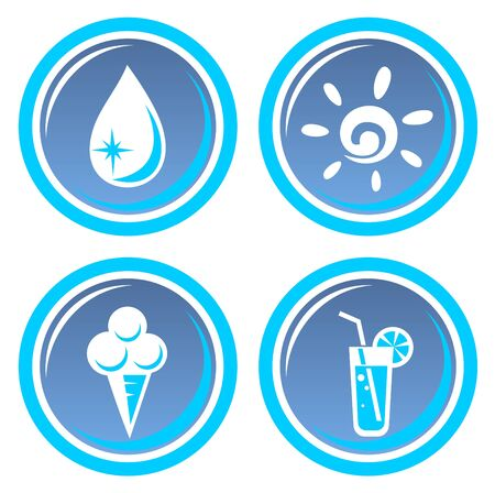 Icon set with four cartoon blue summer symbols. Vector