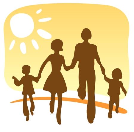 Stilisierte Silhouette der glückliche Familie auf einem gelben Hintergrund.