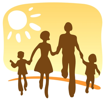 Stylized silhouettes of the happy family on a yellow background.