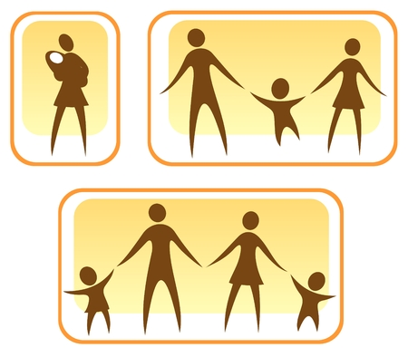 Stylized symbols of parents and children on a white background.