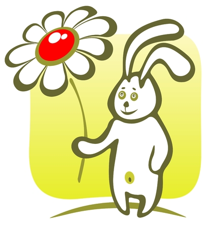 Cheerful cartoon rabbit with flower on a green background. Vector