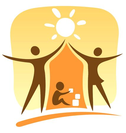 Stylized symbol of parents and child on a yellow background.