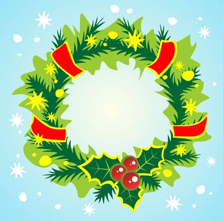 Ornate christmas wreath on a blue background. Christmas illustration. Vector