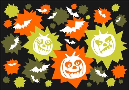 Pumpkins and bats on a black background. Halloween illustration. Vector