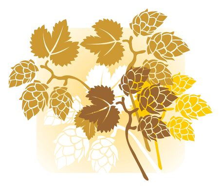 Stylized hop s composition on a yellow background.