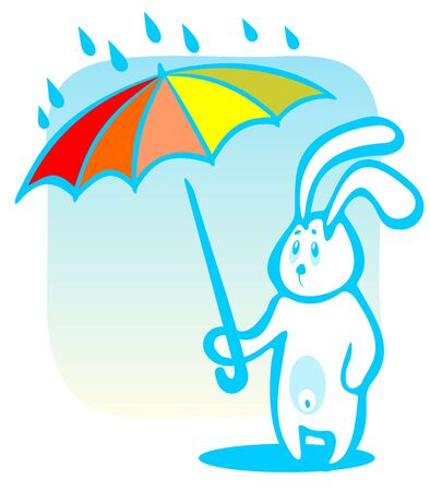 frisky: Cartoon rabbit with umbrella isolated on a blue background.